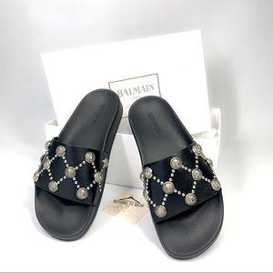 🅞🅝 🅗🅞🅛🅓⭕️ BALMAIN Slippers Black Leather